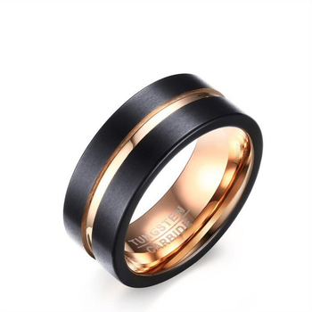 Trend style internal Rose Gold and IP Black Plated Matte Tungsten Carbide Rings For Men