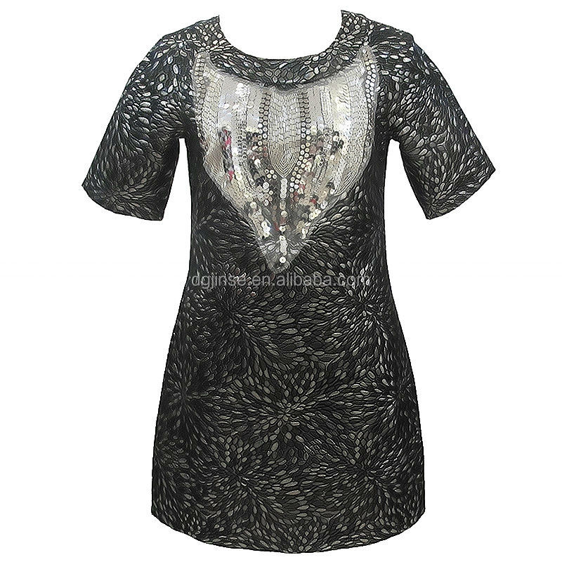 Western Fashion New Collection Black Silvery Glittering Dresses