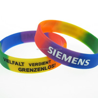 Segmented Color Silicone Wristbands Factory Promotional