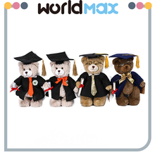 Top Selling Unique Shape Plush Bear With Doctorial Hat Cartoon Kid Girls Toys