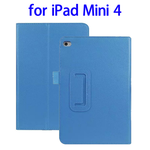 New design 2 Folding Litchi Texture case cover for iPad Mini 4 tablet case
