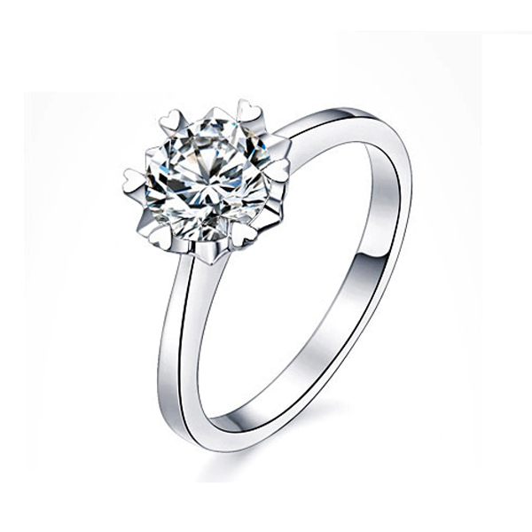 Made With Swarovski Element crystal plated 14k white gold sterling silver ring