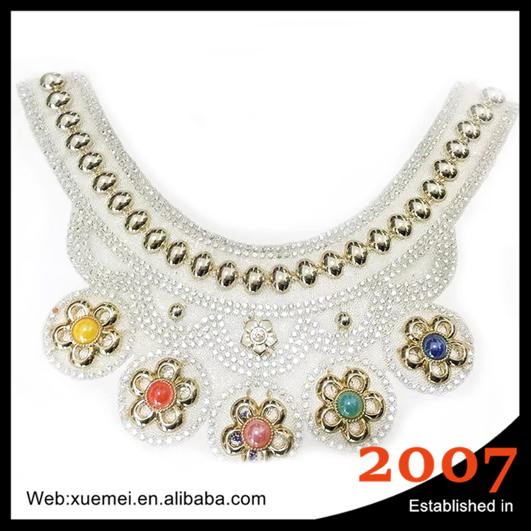 plastic flower bridal crystal rhinestone applique lace trimming necklace making pearl chain