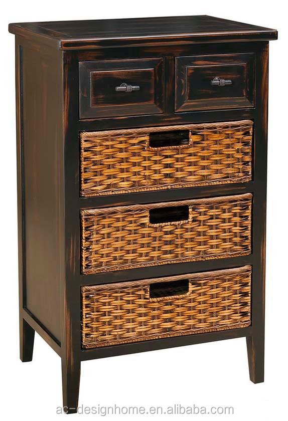 PINE WOOD CABINET W/3 RATTAN STORAGES & 2 DRAWERS