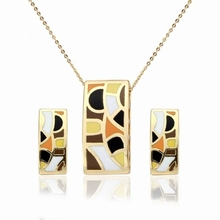 Gold Plated Jewelry 3 Colors Painting Oil Wholesale 1 Piece Luxury Gifts Enamel Jewelry Set for Ladies