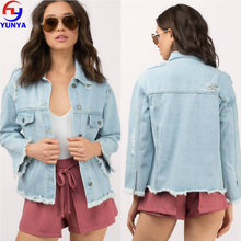 New arrival ladies apparel frayed light blue plain denim jacket