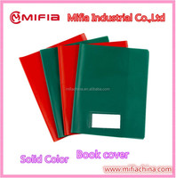 Solid color PVC Vinyl School a4 Plastic Book Cover with small pocket card holder