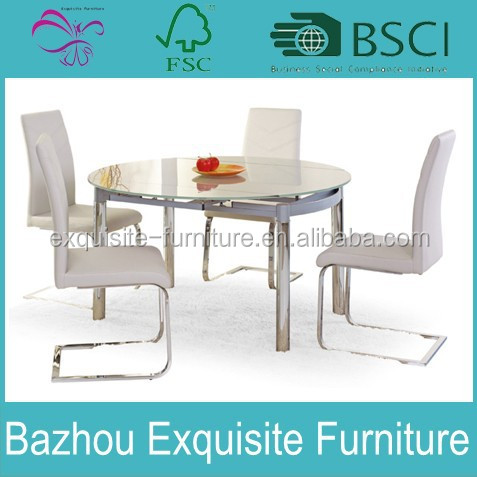 modern round folding top glass dining table and chair for dining room funiture