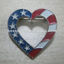 USA heart shaped lapel pins with safety pin back flag design