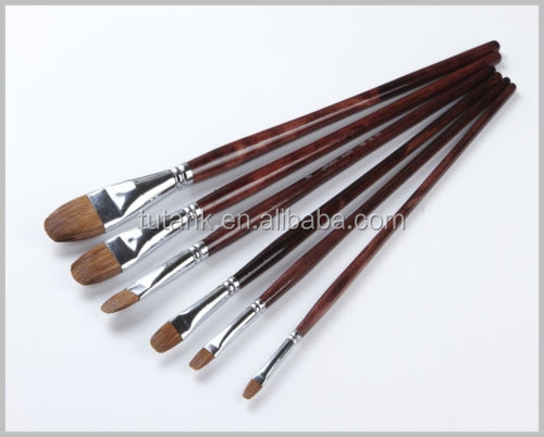 6PCS Weasel Hair Art Brushes Craft Paint Brushes with Beauty Wooden Handle