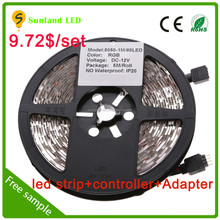 5050 RGB 60led strip light.LED strip kit.multi color LED controller +Remote controller +Power supply