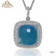 factory whosalse turkish 925 sterling silver blue sapphire stone charm pendant