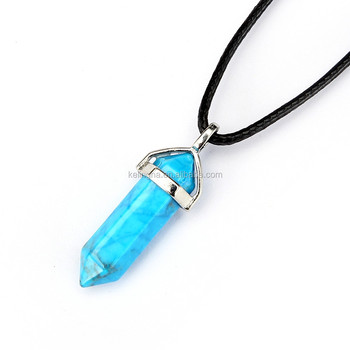 Beautiful 1pcs Blue Turquoise Silver Plated Healing Point Gemstone Natural Turquoise Pendant