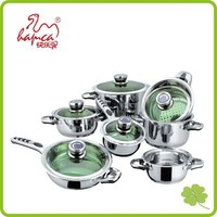 Hot sale stainless steel cookware set with glass lid