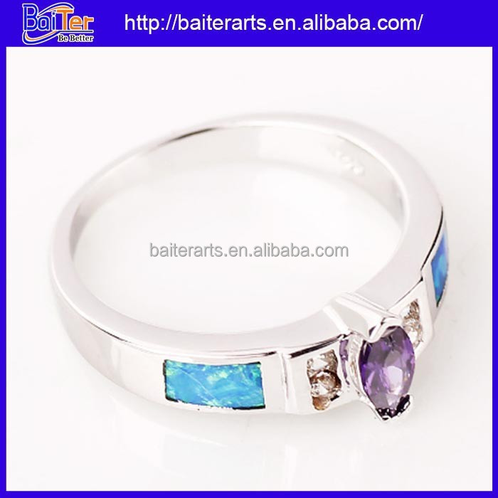 Wholesale Sterling Silver Marquise Cut Amythest And Created Opal Women's Ring