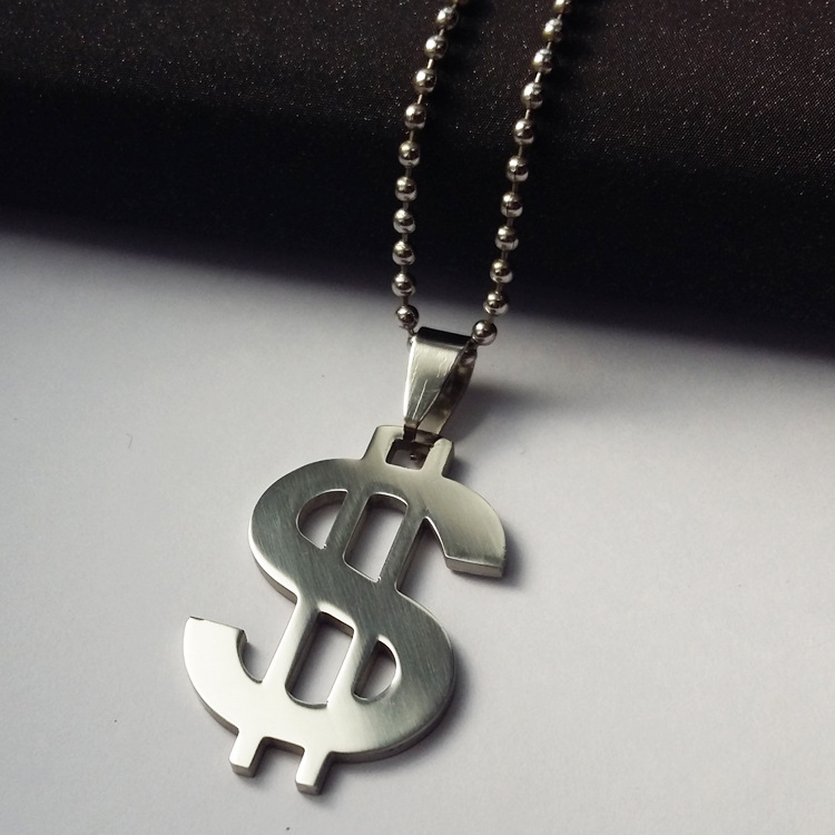 Fashion Dollar Sign Stainless Steel Glossy Pendant Necklace Simple Titanium Steel Necklace For Men