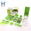 S&H Quick Plastic Stocked 12pcs Multifunction Manual Fruit Food Vegetable Slicer Dicer Chopper