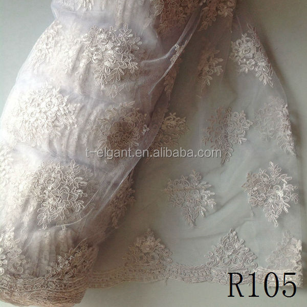 White color Heavy Stones Beaded Net French Lace Fabric African Lace Fabrics For Garment