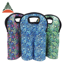 Insulated Neoprene 2 Bottle Wine Tote Carrier Drink Holder Cooler Bag