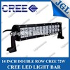 Real Cree!led auto lights!wholesale 72w led 12v 72v tractor trailer driving bar light from 400 satff Guangzhou factory