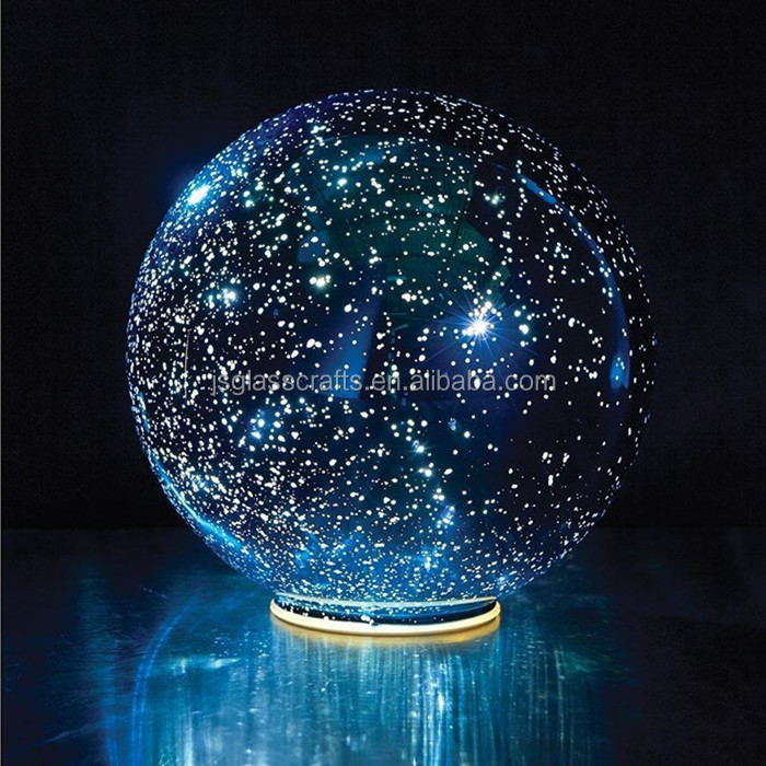 Dreamlike night sky 3D LED lighted mercury glass lamp,3D glass ball light