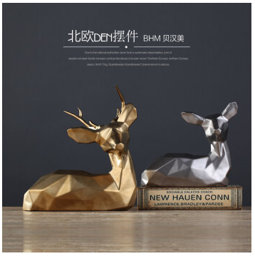 silver and golden christmas decorative deer classic European home decor