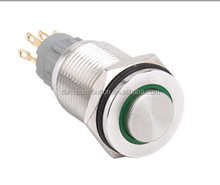 HBS2GQPH series 16mm momentary stainless steel/copper plated electrical push button switch