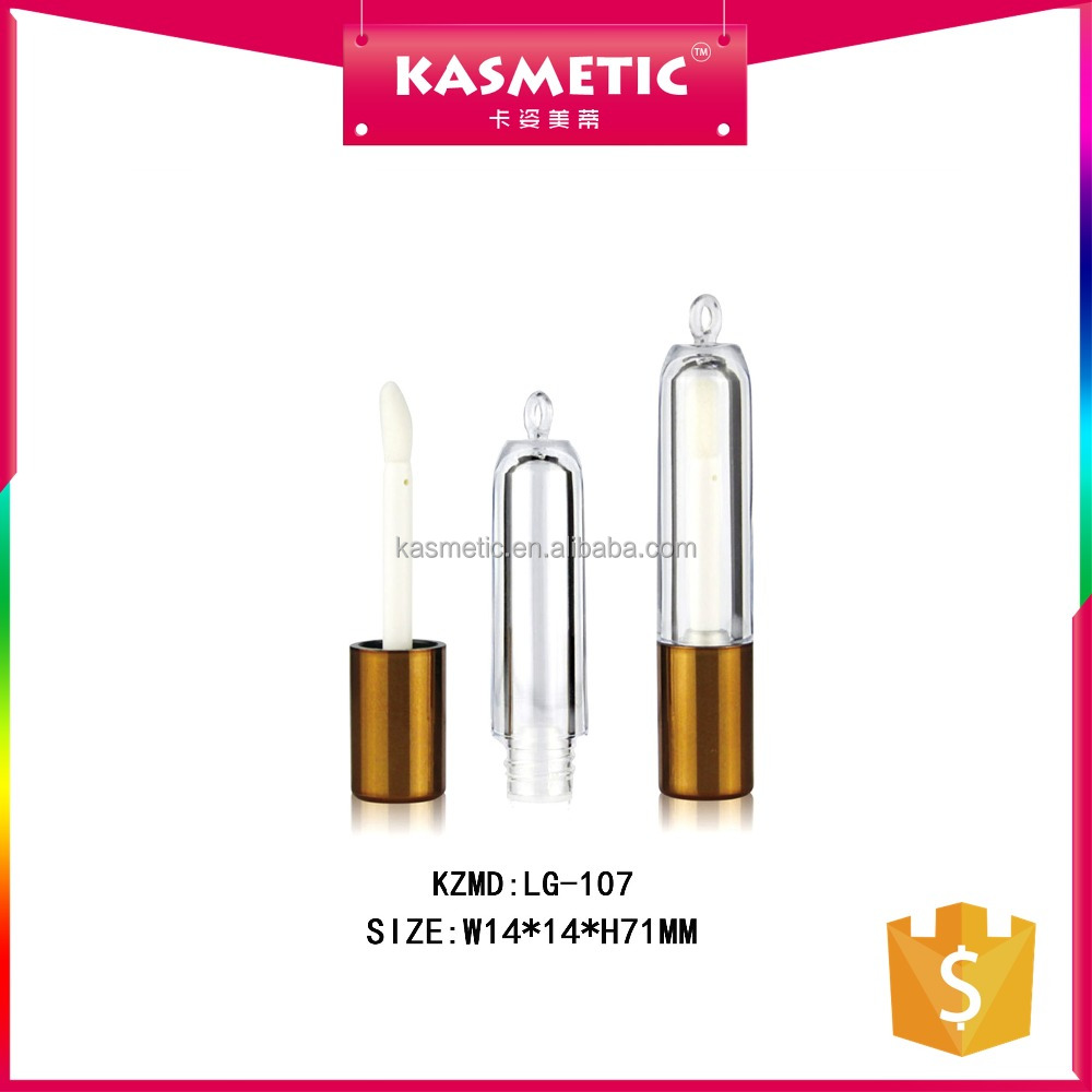 Gold cap clear small lip gloss tubes 3ml lip container tube with key hole on top KZMD LG-107