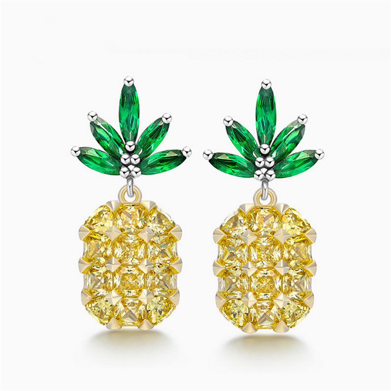 2017 Newest 925 Silver Pineapple Earrings Jewelry High Quality Yellow Crystal Zircon Stud Earrings Wholesale