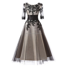 Eleagnt Black Appliqued Tea Length Prom Dresses 2016 Scoop Half Sleeves Tulle Evening Dresses Formal Occasion Gowns