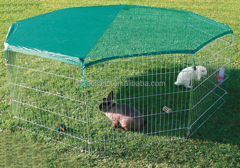 zinc wire folded dog puppy exercise pen with net pet playpen