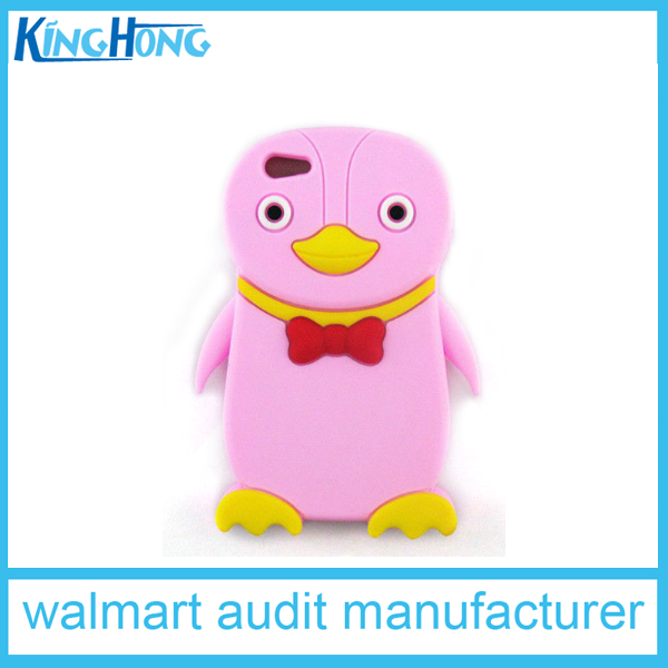 pink cute penguin shaped OEM fancy 3d printing silicone mobile phone covers,factory direct cheap price