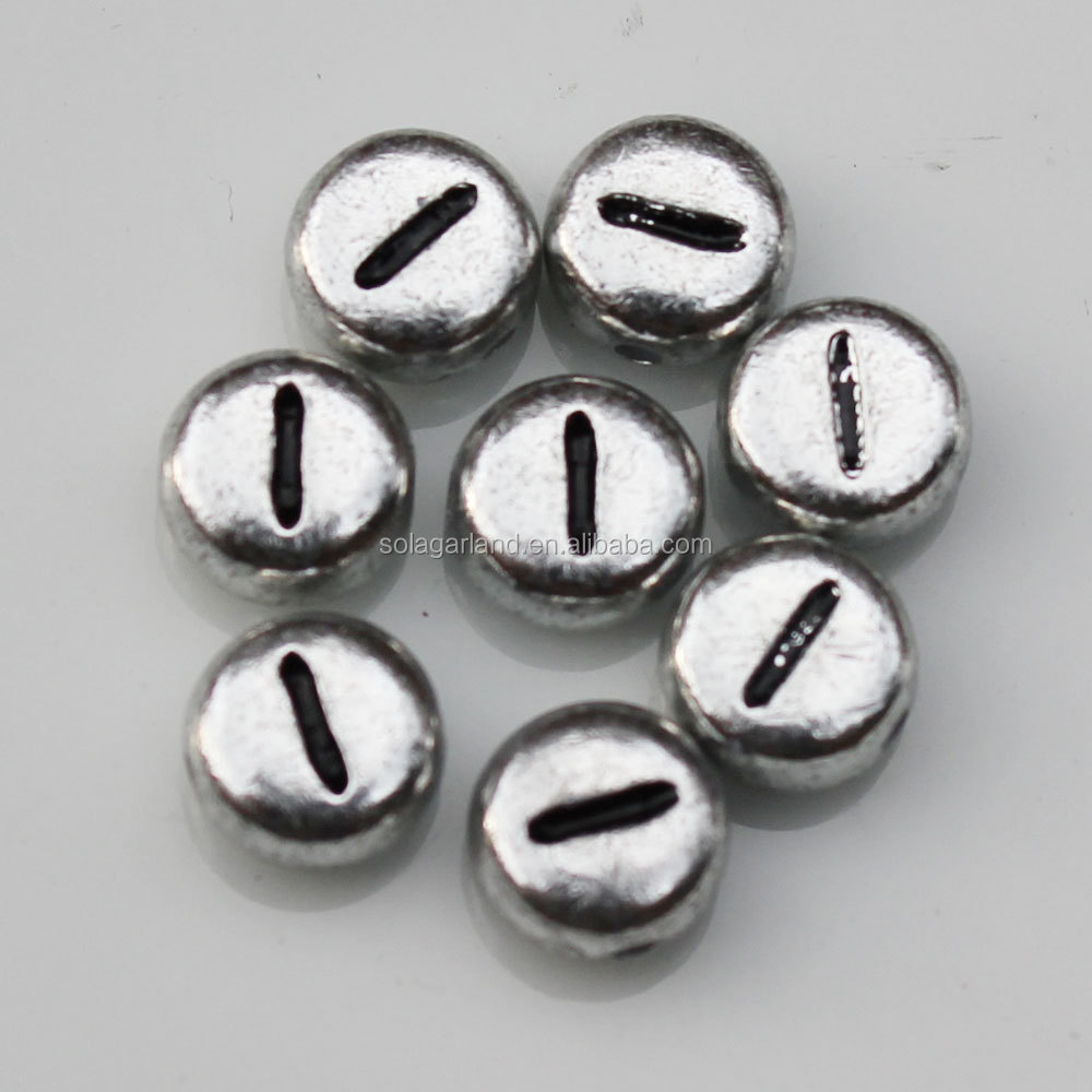 Top Saleing 4*7mm Acrylic Flat Round Single Letters Metal Silver Plated Alphabet Bead for Jewelry Making