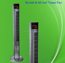 high quality 36 inch oscillating electrical air cooling plastic tower fan with remote control UL