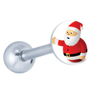 Santa claus logo stainless steel tongue ring barbell Christmas body jewelry