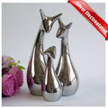 Custom family statue silver electroplate resin deer figurines