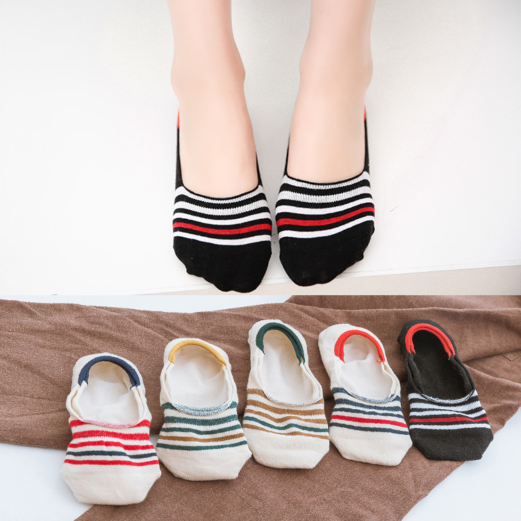 Cheap Summer women stripe cotton no show socks