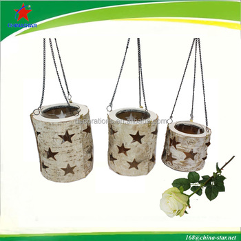 birch hanging hurricane lanterns with glass
