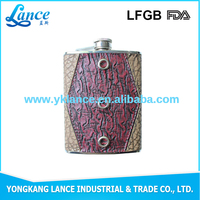 Wholesale factory supply ceramic wine bottle holder hip flask with leather cover