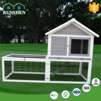 Eco-friendly Wooden Rabbit Hutch Rabiit Room with Strong Black Wire Design