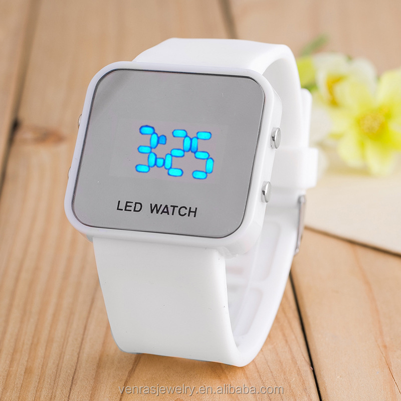 Wholesale Lady New Square Electronic Luminous Silicone Led Watch And Watches Men