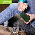 miniwell survival water purifier as adventure travel kit or gear removes bacteria and virus in fresh water