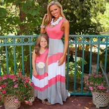 MOMMY AND ME CHEVRON CORAL AND GREY MAXI DRESS