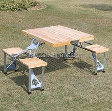 Outdoor/Picnic/Garden Round Folding Beer Wooden Table and Bench