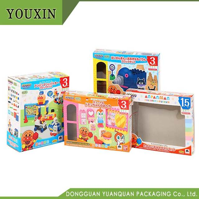Custom printed corrugated paper box display box toy packaging with window