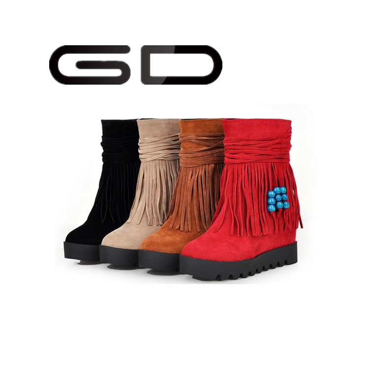 2015 flat bottom contrast color decoration women shoes soft tassel mid calf boots for ladies