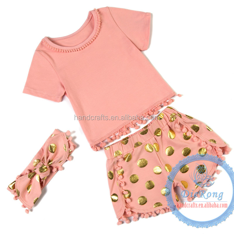 orange baby clothes import kids clothes custom fashion comfortable baby gold dot suit
