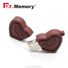 Dr.memory Silicone chocolate heart shape OEM/ODM usb flash drive 1gb 2gb 4gb 8gb 16gb 32gb,Best usb gift for Valentine's Day