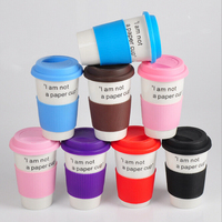 single wall mugs !Haonai M-10551 Customized printed,coffee cups , ceramic travel mugs with silicone lid