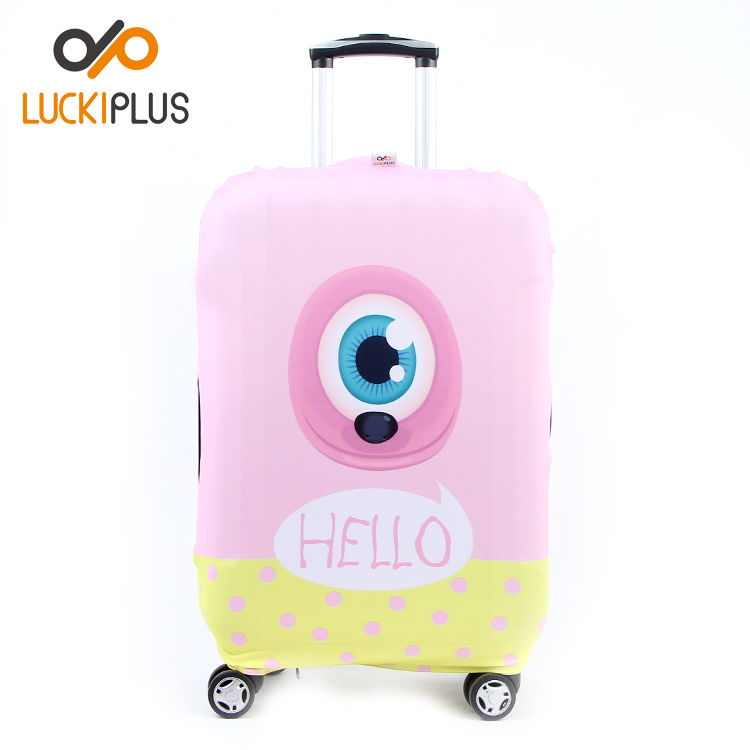 Luckiplus Polyester Spandex Luggage Cover, Big Eye Pattern HIgh Elastic Suitcase Cover